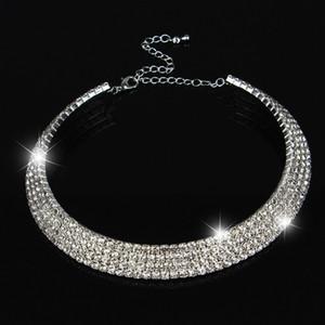 Coppie di 2017 Hot Vendita Gioielli limitata Collier Collane Maxi collana da sposa 1 2 3 4 5 Row di cristallo strass collane del Choker