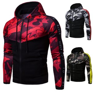 Designer Mens Cardigan Hoodies Fashion Camouflage Patchwork Sweatshirt Casual Mens Slim Hooded Tops