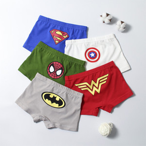 Biancheria intima per bambini puri del cotone del bambino di quattro angolo del fumetto shorts Boy primaria 1-3-12 anni piatto Angolo intimo confortevole 5pcs = 1Lot
