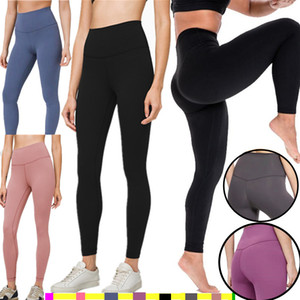 LU-32 Feste Frauen Yogahosen mit hoher Taille Sport Fitnessbekleidung Leggings Elastic Fitness Overall Voll Tights Workout Sport LU Hose yogaworld