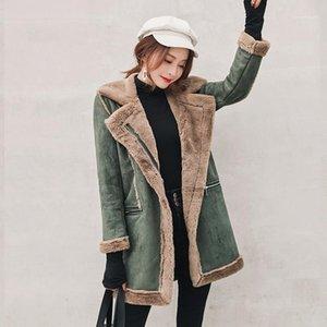 Ufficio di colore di modo Zipper Outerwear risvolto collo manica lunga peluche cappotti signora Cardigan Giacche Donna Contrasto