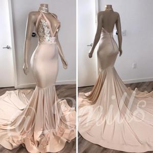 Glitter Halter Derin V yaka payetli Balo Parti Elbise 2020 Seksi Denizkızı Backless Uzun Abiye Giyim Çıplak Şeffaf Hüsniye Moda
