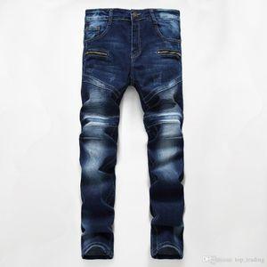 Männer Used-Look-Motorrad-Radfahrer-Jeans Dunkelblau VINTAGE Hose Slim Fit Herren Moto Denim Hip Hop Punk Street für Männer 760 #