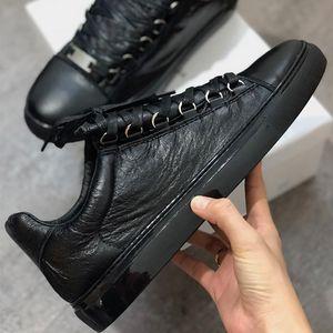 Mens Arena Sneaker Arena enrugado Low Cut sapatilha homens mulheres formadores de qualidade Top Flats 100% sapatos de festa de couro genuíno