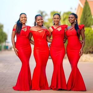 Red Bridesmaid Dresses One Shoulder Ruffles Satin African Plus Size Wedding Party Dress Floor Length vestido de festa de casam