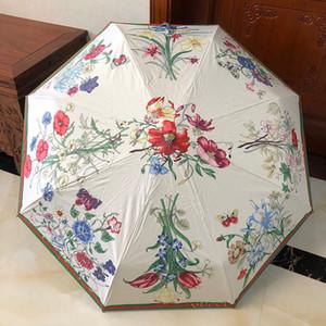 Totalmente automática plegable Soleado Lluvia Paraguas floral impreso manera Classic Parasol Personalidad Summer Sun Protection Mujeres Paraguas