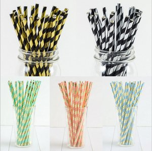 100pcs lot Foil Paper Straws Striped Tableware Set Holiday Fiesta Ins Hot Party Cocktail Straws Decoration Drinking Straw Favors