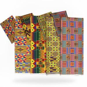 Nigeria Ghana Kente tissu de soie imprimé numérique tissu Ankara africain motif de cire 4 yards audel +2 yards en mousseline de soie pour la robe