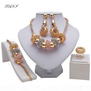Fani Exquisite Dubai Gold Colorful Jewelry Set Nigerian Wedding woman accessories jewelry set African Beads costume Jewelry Set