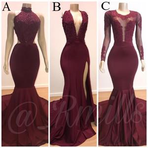 2020 African Русалка платье Burgundy Пром платья Длинные кружева аппликация вечернее платье Формальная партии платье