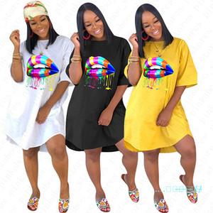 Summer Women T-shirt Dresses Rainbow Lips Print Designer Dress BOHO Ladies Casual T shirt Beach Dress Party Sexy Tees Skirts Clothes D5704