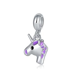 Фиолетовый Единорог Шарм бисера большое отверстие мода женщины ювелирные изделия красочные Единорог найти для DIY браслет ожерелье браслет
