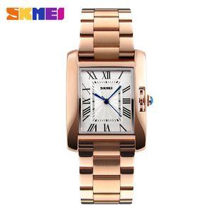 Las mujeres ocasional elegante reloj de cuarzo relojes de manera 3Bar impermeable del relogio acero inoxidable Correa Femenino 1284 de oro rosa