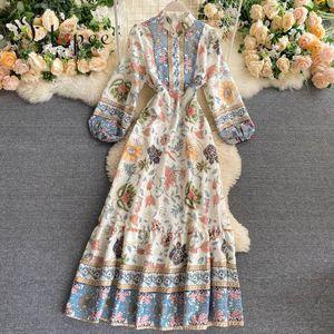 Free Shipping Elegant Dress streetwear Retro Court Print Temperament Ruffle Dress Bohemian Vestidos Closed Waist Women