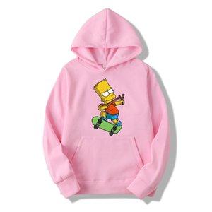Casual Os Simpsons impressão Hip Hop longo Men luva do e das mulheres engraçadas do hoodie Harajuku camisola Top Y200519