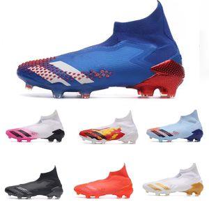 Nuovo Predator 20+ serie Mutator 20 + FG Ragazzi Calcio Scarpe da calcio 20 + x Cleats Stivali alla caviglia alta Località Royal Blue Red Tormentor pacchetto Tacchetti