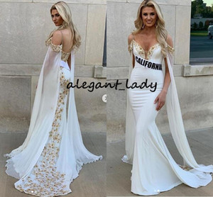 Off Shoulder Mermaid Prom Pageant Dresses with Long Cape 2020 Miss USA Collegiate Gold Lace Beaded Trumpet Occasion Evening Gowns