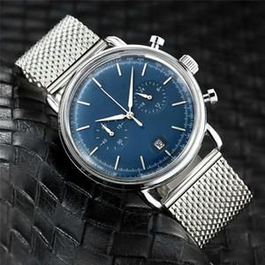 모든 Subdials Work 럭셔리 시계 블루 실버 영국 캐주얼 시계 남성 쿼츠 시계 스테인레스 스틸 메쉬 벨트 슬림 스톱워치