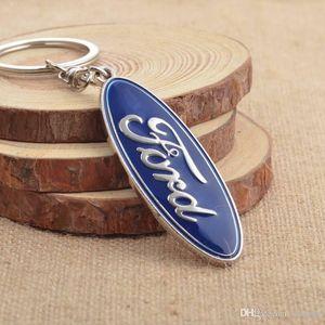 Ford Anahtarlık Anahtarlık Zinciri Anahtarlık Chaveiro Llavero Araç Şekillendirici Aksesuarları # 19s için Toptan 3D metal Amblem Araba Logo Anahtarlık