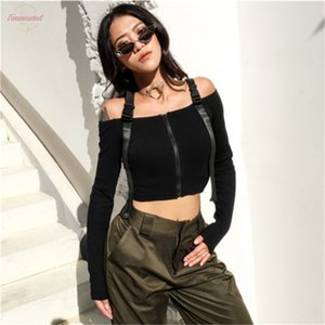Women Fashion Women Causal Loose Solid Off Shoulder Crop Top Long Sleeve Sweater T Shirt Pullover Autumn Summer Cotton Clothes