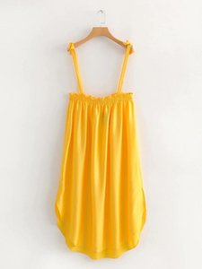 Il vestito di stile occidentale DONNE 2019 nuovo stile di estate Solid Spalla Lace-up di colore allentato-Fit Dress Strapped