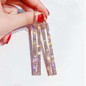 -Venta caliente de lujo del diseñador S925 aguja de plata pendientes de la manera de la personalidad del hip-hop exagerada taladro incrustaciones conjunto rectangular de pendientes ful