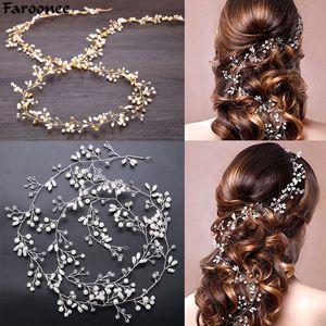 Coiffure De Mariage Faroonee Simulé Perle De Cheveux Accessoires pour La Couronne De Cristal De Mariée Floral Élégant Cheveux Ornements En Épingle À Cheveux