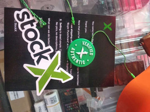 Stockx Almacén de zapatos de las etiquetas Stock X circular verde etiqueta en el zapato RCODE etiquetas folleto hebilla plástica verificado X verdes de la etiqueta auténtica