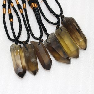 Natural crystal smokey quartz pendant Crystal Single Tea yellow crystal Raw Stone Necklace magic wand