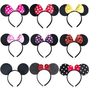 17 colores de chicas accesorios para el cabello diadema orejas de ratón venda del pelo de los niños niños bebé aro lindo cosplay tocado de Halloween Navidad
