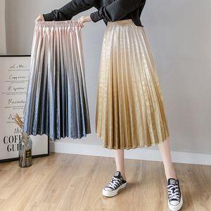 Azul-de-rosa com saias de inverno Mulheres Autumn Restro Vintage Pleuche Gradiente cintura alta longa saia plissada Aesthetic plissadas