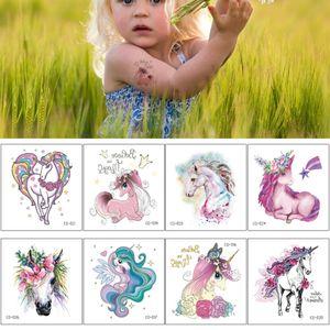 Small Cute Cartoon Unicorn Temporary Tattoo Sticker for Kid Boy Girl Fake Colored Drawing Horse Flower Design Child Body Art Make up Tattoos