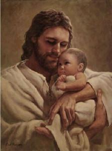 Del Parson en los brazos de su amor Decoración Jesús detiene al bebé impresión de HD pintura al óleo sobre lienzo de arte cuadros de la pared 200110