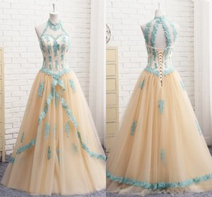 Aqua Blue Lace Prom Dresses High Neck Coset Back Princess Two Layers Tulle A-line Quinceanera Dress Evening Gowns Long Formal Party Women