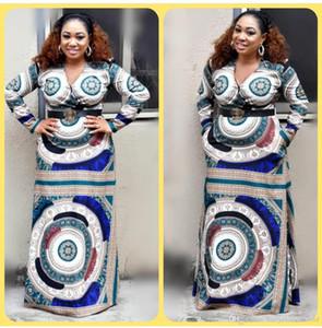 아프리카 여성 의류 africa dress africa dress africa dress 여성복 의류 여성 의류 ankara plus V-neck 긴 소매 허리 원피스