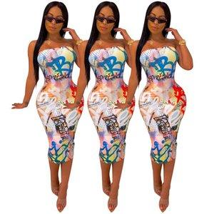 Women's Strapless Digital Graffiti Print Dress Plus Size Tube Top Middle Dress Skirt Sundress Cover Up Midi