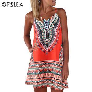 Opslea African Women V Neck Slender Strap Mini Dress Sexy Backless Clothes Dashiki 2019 Summer New Ethnic Print Short Dress