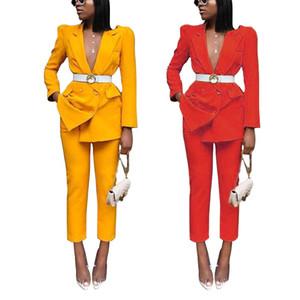 Womens Dois Pants Pedaço Blazer Ternos Primavera Outono manga comprida Escritório das senhoras Conjuntos Moda Modern Lady Blazer