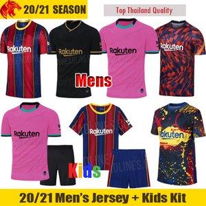 20 21 ANSU FATI Barcelona Camisas de futebol GRIEZMANN 2020 2021 MESSI Barca F.DE JONG Camisa dos homens Kit para crianças ARTHUR SUAREZ Camisa de futebol