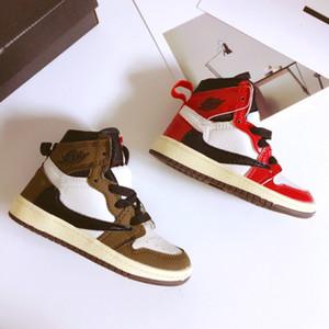 2020 الطفل الرضيع موكا أحمر الأعلى ترافيس سكوت كرة السلة أحذية الأطفال 1S العليا OG أحذية الأطفال الرافعات 1S أحذية رياضية مدرب طفل