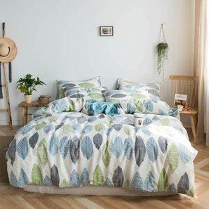 2019 Verde Azul Cinzento Leaves Bed Capa Duvet Cover Set Algodão Bedding Set bedlinens gêmeo Rainha Rei folha plana lençol