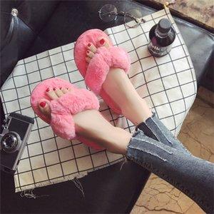OLOMM zapatillas de invierno señoras de la manera del hogar de piel artificial zapatos calientes mujeres usan zapatos planos zapatillas rosas 36-41 AB-53