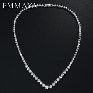 EMMAYA AAA zircons Stunning Round CZ Cristal Colliers et luxe nuptiale Bijoux Parti pour le mariage