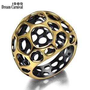 Dreamcarnival 1989 موضة جديدة القوطية خمر الذهب الأسود اللون الجوف تصميم المرأة اليوم ارتداء خاتم كوكتيل آنيل masculino Wa11428 C190420