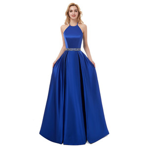 Beaded Satin A Line Long Evening Dresses 2020 Royal Blue Black Halter Neck Evening Gowns Prom Dress Robe De Soiree