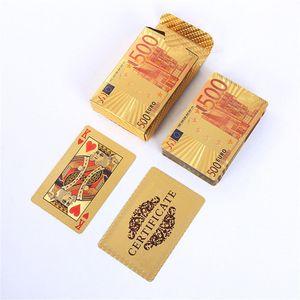 cartão de Poker Gold Silver Dollar Foil Cartões de jogo impermeáveis ouro chapeado Euro Poker Table Games For Gift Collection frete grátis