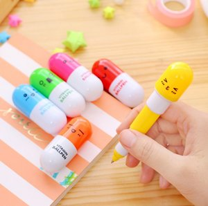 Free shipping Creative Multifunction Cartoon expression pill Ballpoint pen Capsule pen Telescopic pen lovely student stationery