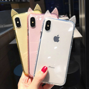 3D Cute Cat Ear Shining Diamond Candy color Phone Cases For iPhone X XS XR XS Max 6 6S 7 8 Plus Transparent Soft TPU Back Cover