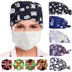 Scrub Cap avec bouton Imprimer Cartoon Mode Bouton Imprimé travail Chapeau Casual unisexe Cap Hat infirmières pour les femmes et les hommes