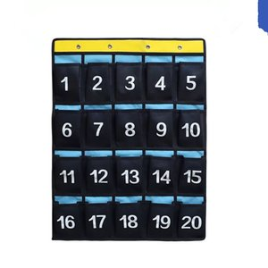 56 Pockets Waterproof Oxford Fabric Storage Hanging Bag Numbered Classroom Charts For Cell Phones Organizers Purple Blue Navy